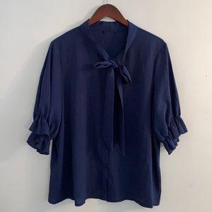 Tie neck navy blue top